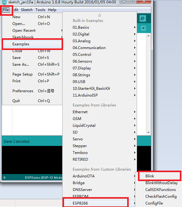Test Arduino IDE   Manual for Installation of ESPduino IDE